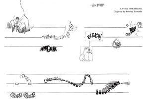 partition de la strisody de cathy berberian, en forme de bande dessinée