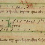 Matérialisation graduelle des lignes et emploi de la couleur : fa rouge et do vert. Le ré et le la sont indiqués par des lettres – Tropaire de Saint-Evroult (Paris, BnF, lat. 10508, f. 10r)