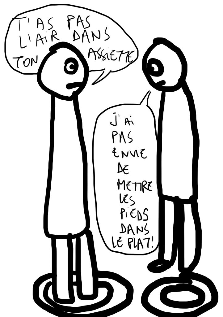 deux personnages dessinés se parlent, face à face