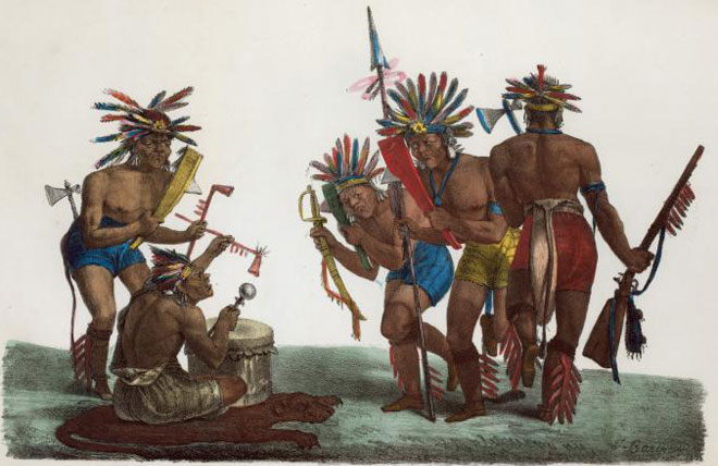 Les danses de la pipe et du tomahawk de la tribu des Chippeway © NY Public Library, digital collections