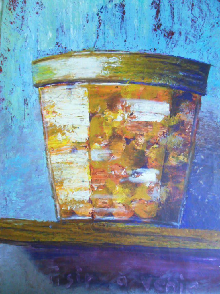 peinture représentant un pot de confiture sur un fond bleu