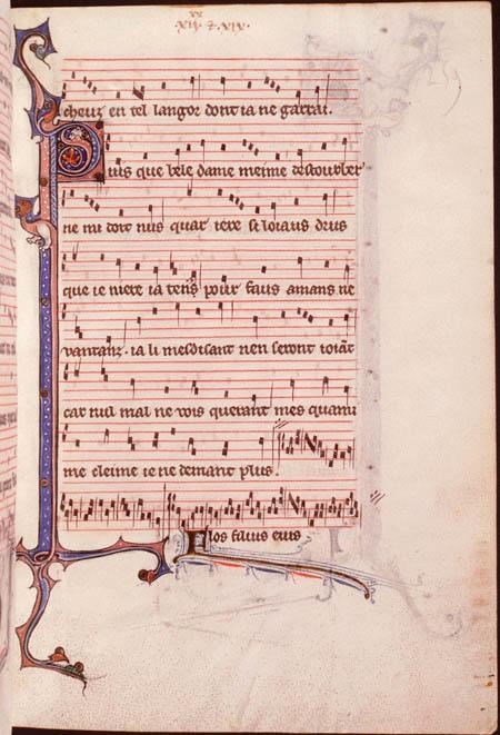 Motet Puisque bele dame m'aime / FLOS FILIUS (Montpellier, Bibl. interuniversitaire, fac. Médecine, H 196, f. 259r – Section du manuscrit copiée à Paris ca 1270-80)
