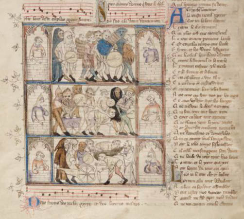 Détail du charivari du Roman de Fauvel (Paris, BnF, fr. 146, f. 36v)