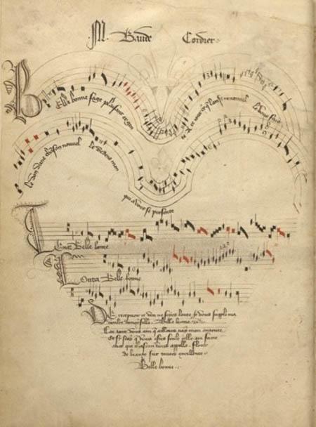 Baude Cordier, Belle, bonne, sage (Chantilly, musée Condé, ms. 564, f. 11v – Manuscrit probablement copié pour la cour de Foix, à l'extrême fin du xive siècle)