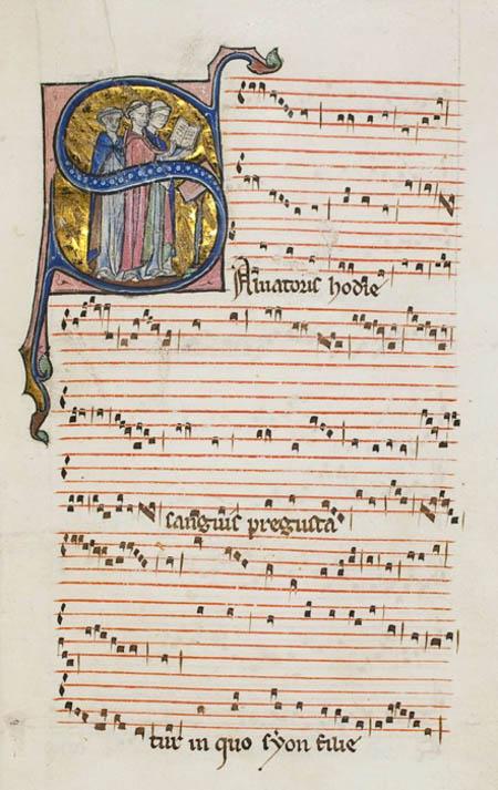 Pérotin, Salvatoris hodie à trois voix (Wolfenbüttel, Herzog-August Bibliothek, 1206, f. 31r – manuscrit très probablement copié à Paris entre 1240 et 1260)