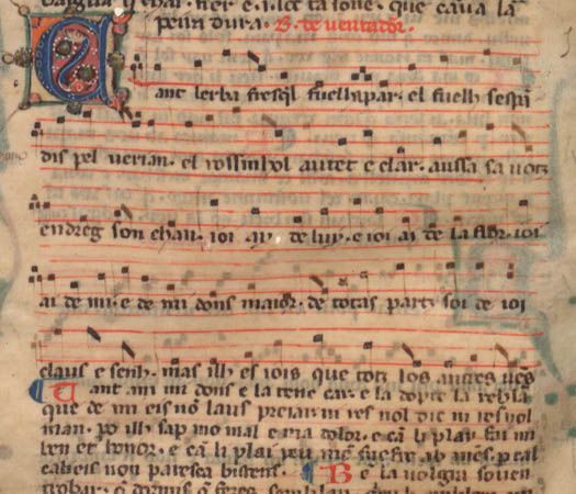Bernart de Ventadorn, Can l'erba frescha (Paris, BnF, fr. 22543, f. 57vb - Manuscrit probablement copié dans le sud de la France, ca 1300)