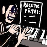 dessin représentant un personnage sombre jouant du piano avec comme partition : recette de pâtes.