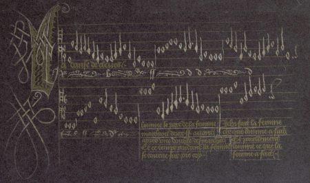 manuscrit musical sur fond sombre, presque noir