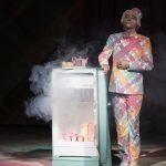 un chanteur en habit multicore à côté d'un frigo sur scène